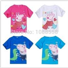Hot Sale New 2014 Lovely Nova Kids Baby Boys Girls Short Sleeve t-shirts, Peppa Pig Summer T shirts(China (Mainland))