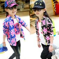 Baby Girls Kids Coats Zipper Jacket Flag Pattern Long Sleeve Clothes 2-7Y