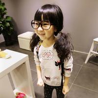 Autumn Kids Girls Cartoon Animal Pattern White Long Sleeve Sweater Tops 2-7Y