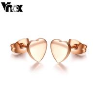 fashion cute heart jewelry rose gold stud earrings for women wedding jewelry