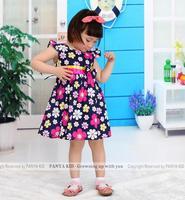 2015 summer new floral dresses baby girls dress tie-waist princess kids clothing WS60