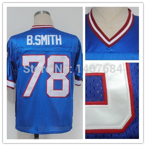 #78 Bruce Smith Jersey American Football Jerseys B.SMITH Jersey Stitched White Blue Mens Rugby Throwback Logos Size M-XXXL(China (Mainland))