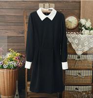 2014 Autumn Winter Victoria Beckham Dress Elegant Long-sleeved Black Slim Bodycon Peter Pan Collar Dress LQ4724