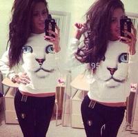 Hot sale Fashion 2014 Womens Long Sleeve Chic Blue Eyes Cat Face Print Hoodies Tops Trendy Knitted Sweatshirt DF-014