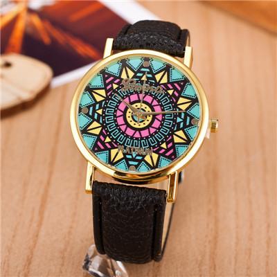 2014 New Arrival Fashion Women Wristwatch Sunflower Style Leather Strap Analog Quartz Women Watch Geneva Casual