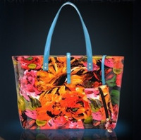 2014 new handbag canvas shoulder flower rose printed color paint bags fashion Chinese style