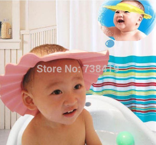 3 Color Adjustable Convenient Bath Bathing Protect Baby Child Kids Shampoo Bath Shower Cap Hat Wash Hair free shipping&wholesale(China (Mainland))