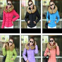 Casaco Feminino Inverno 2014 Winter Jacket Women Slim Office Ladies Zippers Fur Collar  Plus Size Coats Jaquetas