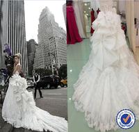 Unique Big Bows Long Train Wedding Dress