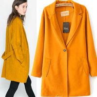 fashion casual Woman winter spring Autumn Style single button turn-down collar  Wool Long Belt Jacket Coat yellow