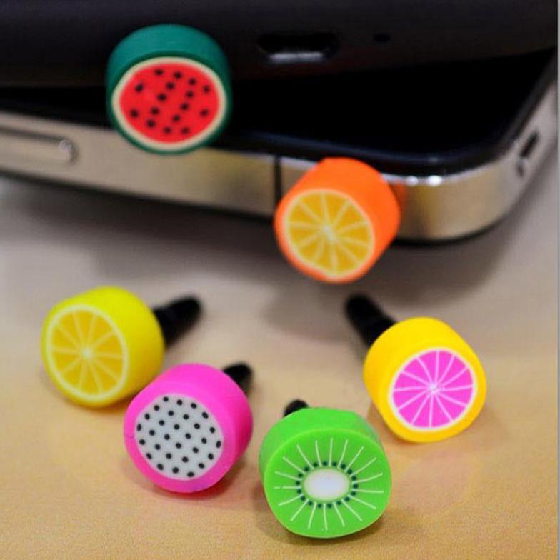 5 PCs Per Lot Fruit Charm 3.5mm Anti Dust Earphone Jack Plug Stopper Cap for iPhone(China (Mainland))