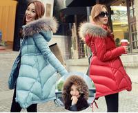New 2014 Jacket Women Winter Coat Thicken Slim Female Raccoon Fur Collar Long Coat Women Parka Winter puffer Coat