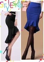 2015 Solid Blue/Black Slim Fish Tail High Low Ruffled Hemline Midi Skirt  saia feminina Skirt Long Free Shipping