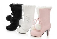 Free shipping Short sweet ladies fur ball snow boots winter boots high heel plus size women boots