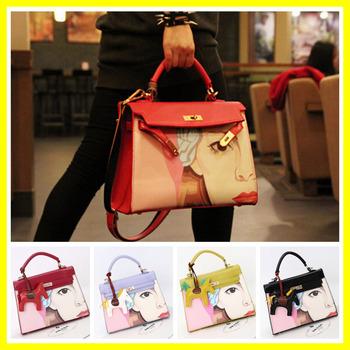 Горячая оптовая продажа новый 2014 дизайнер женщин сумки высокое качество женщин кожа сумка сумки на ремне пони украшения креста тела сумки