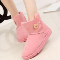 Short Boots Women High Quality Thick Warm Snow Boots With Button Woman Winter Shoes Red Pink Brown Black 2015 New Fashion Womens