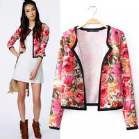 OME01251 Red floral print short autumn casual cardigan open stitch coat jackets women casaco overcoat outerwear chaquetas anorak