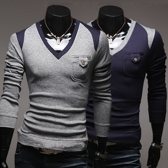2014 New Fashion Mens Pullover Sweaters Long Sleeve V-neck Mens Knitted Sweaters Autumn Casual Outwear Clothing Wholesales(China (Mainland))