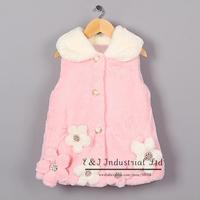 2014 New Arrival Girls Vest Waistcoat Pink Flower Fur Vest Coat Children Winter Clothes Free Shipping OC41007-01