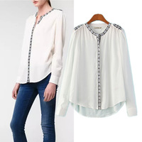New Fashion 2015 Spring Women's Elegant Embroidery Long Sleeve White Shirts Casual Ladies Cotton Blouses Tops blusas PS0628
