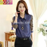 2015 New Autumn And Winter Fashion Casual Blue Spliced Lapel Striped Long Sleeve Denim Blous Shirt Shirts
