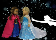 "Xmas gift for children Doll Clothes Fit 18"" American Girl ""FROZEN"" Princess Anna Outfit Fantastic Fits Queen Elsa Magic Dress(China (Mainland))"
