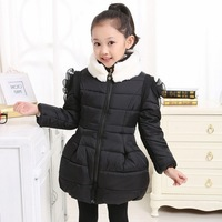 Girls child winter coat 2014 child cotton-padded jacket  three-dimensional flower wadded children outwear