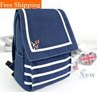 2014 Autumn New Brand British Wind Backpack Vintage Navy Wind Korean Style Schoolbags Striped Ladies Canvas Stripe Leisure Bags
