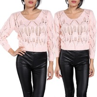 Brand New Fashion Women Sexy Hollow Out Sweater Knitted Sweaters Short Jumper Pullover Casual Tops B22 CB031334
