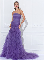2015 New Style Evening Dresses Strapless Purple Tulle Court Train Pleat Mermaid Formal Dresses E1412190
