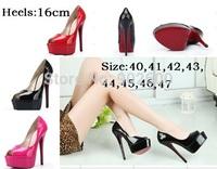 big size:40-45 46 47 spring autumn brand sexy fish mouth red bottoms platform wedding shoes,16cm Ultra high heels women's pumps