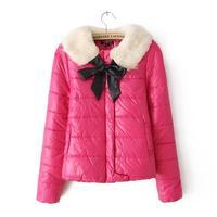 New 2014 Winter Slim Removable Fur Collar  Down  Women Coat Turn-down Collar Cotton Jackets Women Padded Parka Outwear Coats A11