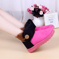 2014 new fashion thick sole Hit color ankle boots women snow boots hot sale wholesale winter warm shoes