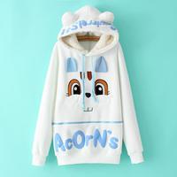 Lovely Women Teenage Girl Fleece Cute Rabbits Hooded Pullover Sweater Fleece Hoodies Crew-neck Hooded Sweatshirts
