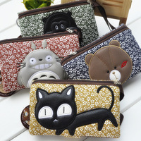lovely floral Wallet Purse female cloth brief paragraph purse multi clamping card holder package cartoon animal mobile phone bag