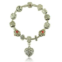 New European Hot Sell Antique Silver Heart Charms Bracelet Bangles For Women Pan Jewelry