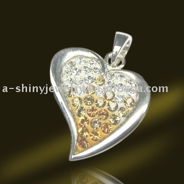 Free Shipping Guaranteed 925 sterling silver Pendants with crystal Fashion Jewelry Wholesale(China (Mainland))
