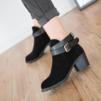 2015 new fashion women boots thick heel platform shoes buckle autumn winter boots for women martin boots ankle boots 82