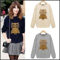 Popular Women Owl Pattern Jacket Long Sleeve Hoodie Coat Tops Sweatshirt Tonsee
