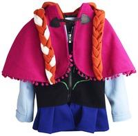 Retail Free shipping Autumn Winter New Arrival frozen anna cape + jacket + braid set,girl jacket,girl coat