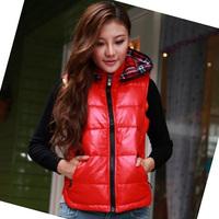 Add Fleece Lady Down Vests Size M-2XL Korean Fashion Cotton-Padded Windproof Black & Red Girls Hooded Waistcoats Parkas
