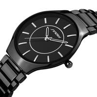Black Stainless Steel Strap Sinobi Watch for Men and Women Fashion Japanese-Quartz Movement Lovers Wristwatch SDU1005