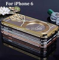 "For Apple iPhone 6 Plus 5.5"" 4.7"" inch Luxury Rhinestone Crystal Metal Aluminum Bumper Frame Bling Big Diamond Hollow Case"