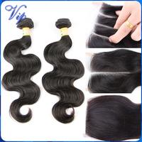 Indian Virgin Hair Body Wave,Grace Hair Products Indian Virgin Hair With Closure 4PCS,Lace Closure With Virgin Human Hair Bundle