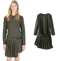 New Fashion 2015 Spring Women Elegant Army Green Long Sleeve O neck Pleated Dress Casual Ladies Buckle Irregular Dresses PS0630