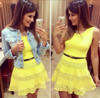 2015 New Summer Fashion Celebrity Mini Dress Women Sexy A-line Sleeveless Dress Yellow Chiffon Lace Tank Dress Vestidos S-L