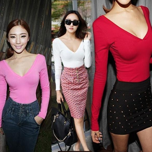 moda de nova backless 2014 top mulheres camisa sexy senhora baixa v- pescoço assentamento manga longa top cultura 4 doces p7999 cores(China (Mainland))