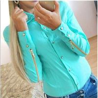 Cheap 2014 Spring Autumn women fashion blouse zipper at sleeve  blue white female work wear long sleeve blouse LJ069LMX
