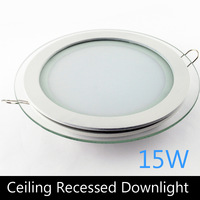Modern design with glass 15W LED ceiling recessed down light / round panel light kitchen light 200mm 1pc/lot free shipping