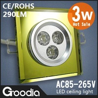 3W crystal led ceiling light,AC85~265V,290lm,Cold light / Warm light.3w Crystal square,led down light,CE&ROHS,Free shipping